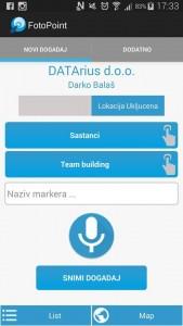osnovni ekran aplikacije (uključenje geolokacije, unos teksta, unos govora)